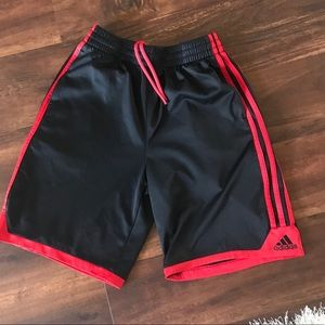 Adidas Boys black &  red three strip shorts M